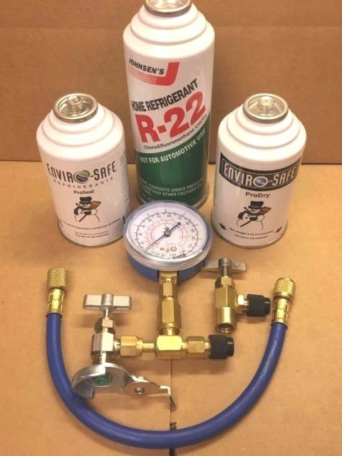 R22, R-22, A/C, Refrigeration, RECHARGE KIT, TEST GAUGE