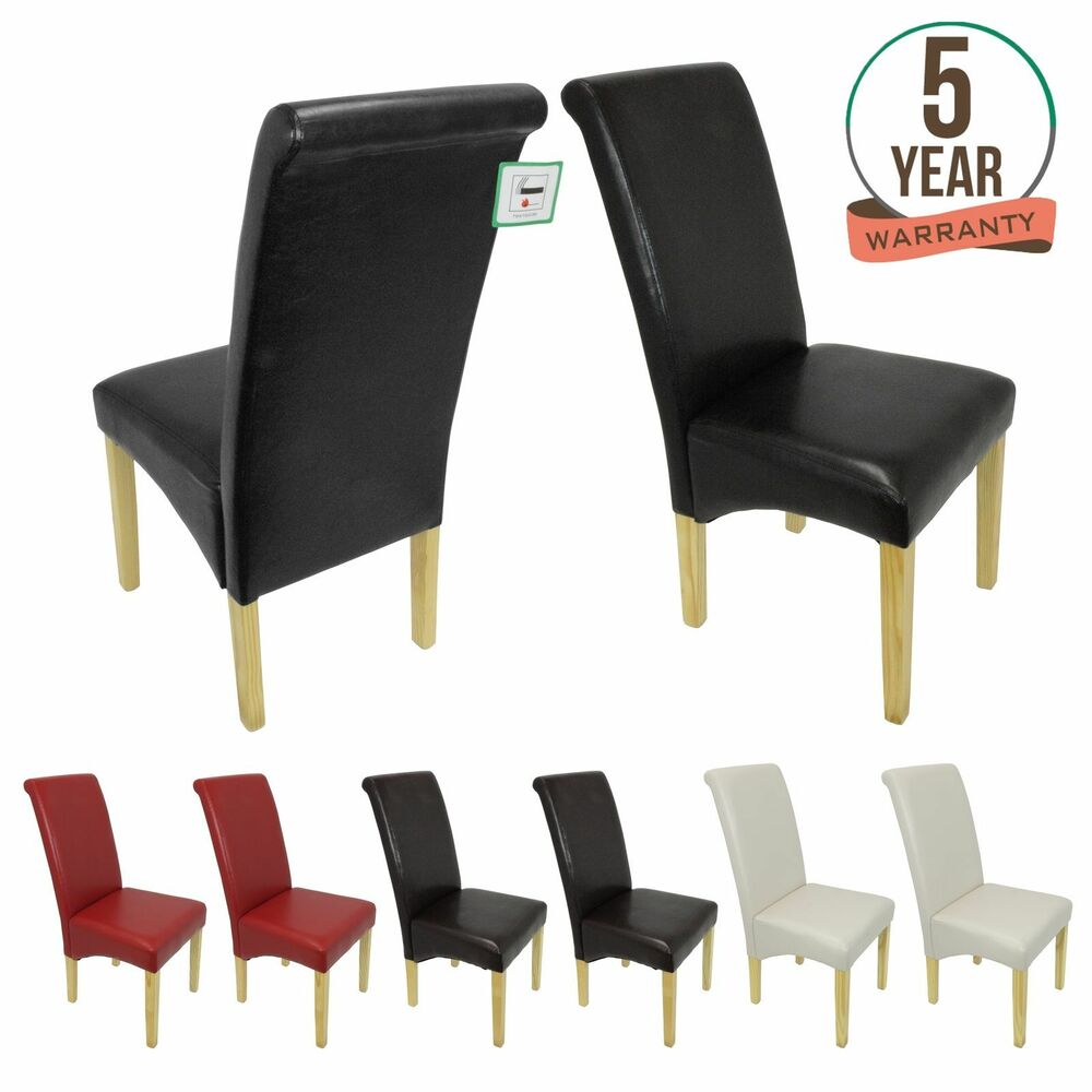 Premium Faux Leather Dining Chairs Roll Top Scroll High  : s l1000 from www.ebay.co.uk size 1000 x 1000 jpeg 65kB