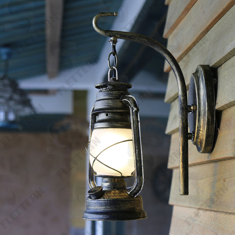 Storm Lantern Wall Lights : New Art lantern Antique Iron hurricane lamp garden lighting outdoor wall light eBay