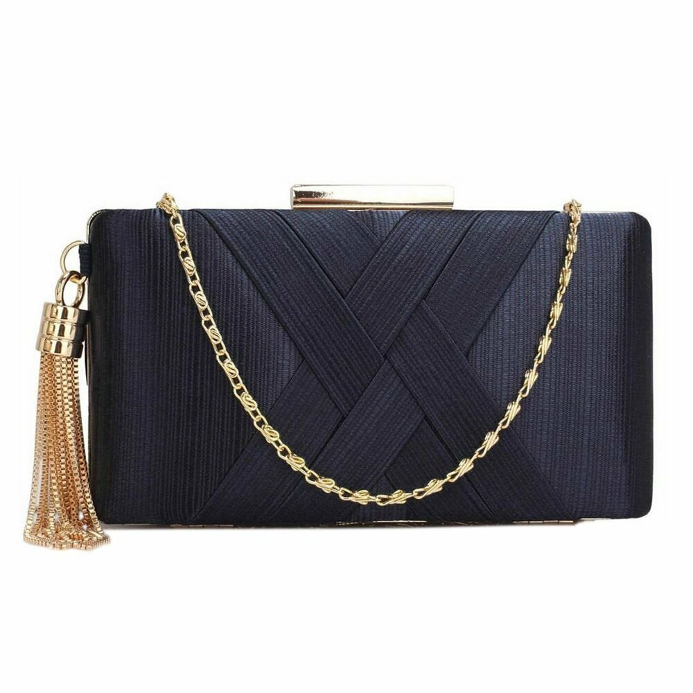 Navy Blue Satin Clutch Bag Ladies Handbag Wedding Party Evening New | EBay