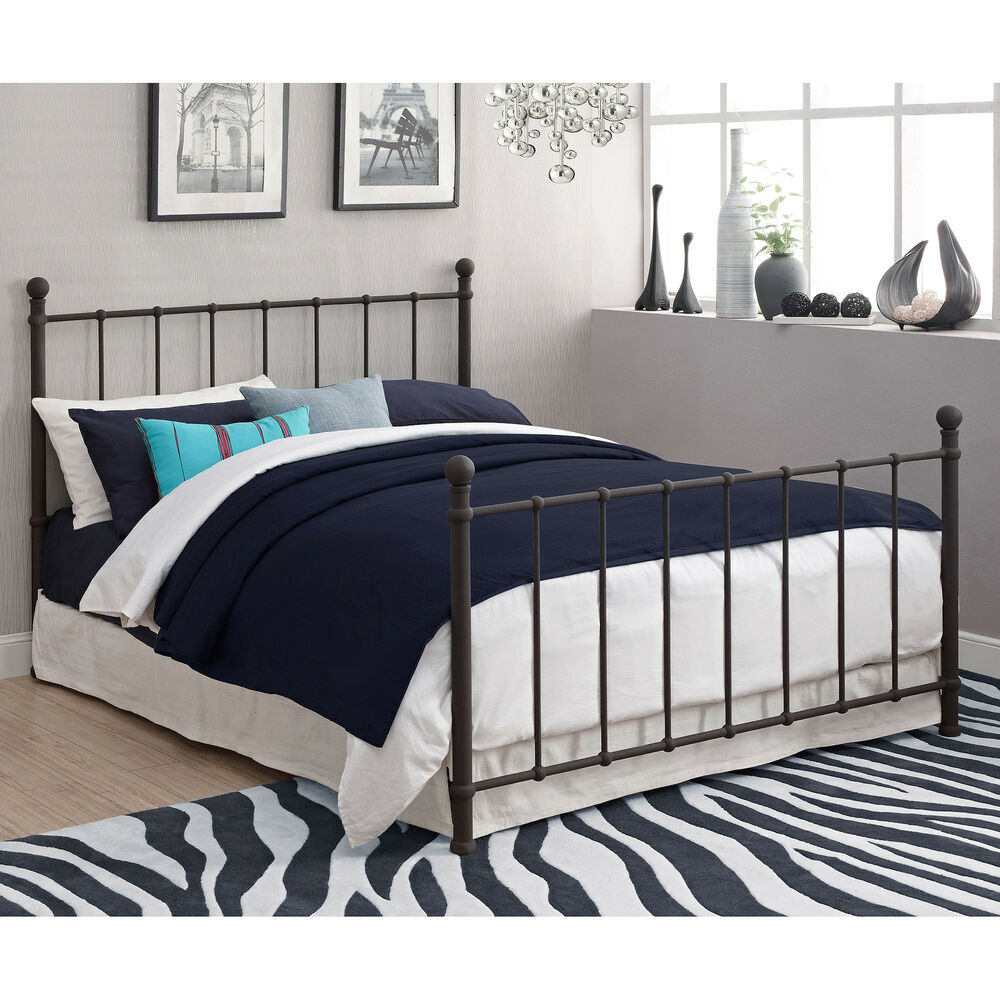 Full size bed metal frame furniture bedroom headboard for Full size bed furniture