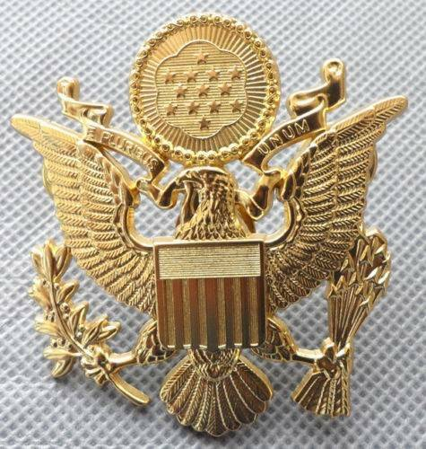 """Eagle Hat Pin: US Army Officer Cap Eagle Badge Insigia Gold 1-3/4"""" Lapel"""