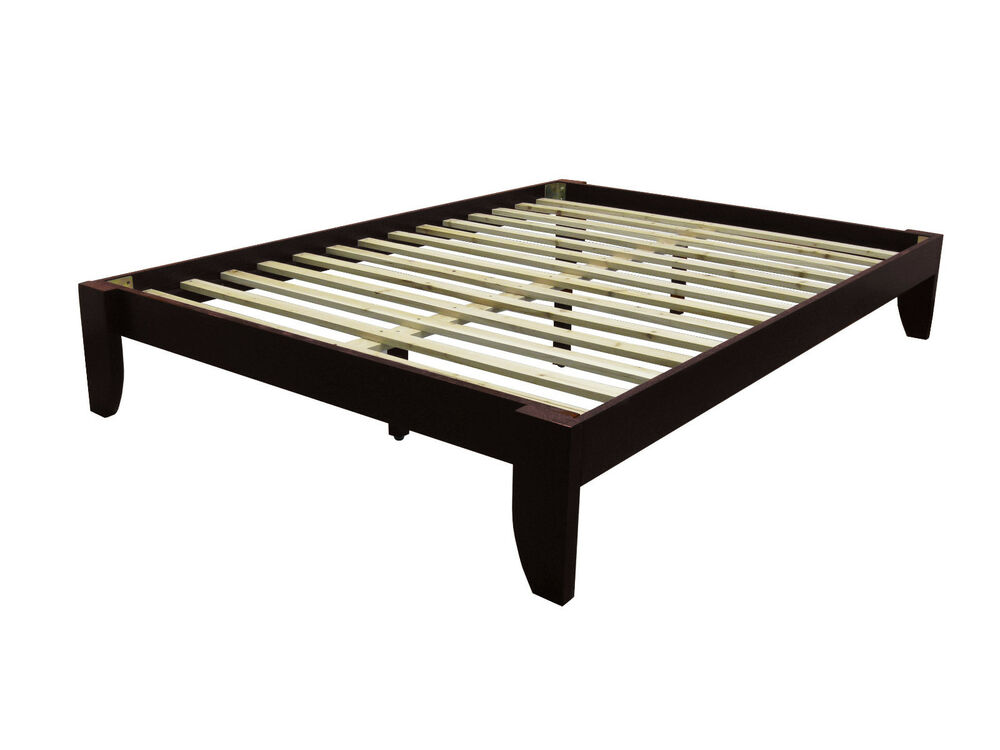 queen solid bamboo all wood platform bed frame choose finish ebay. Black Bedroom Furniture Sets. Home Design Ideas