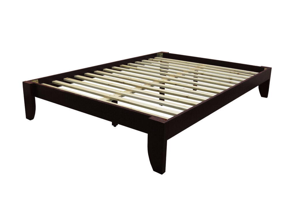 plain wooden bed frame