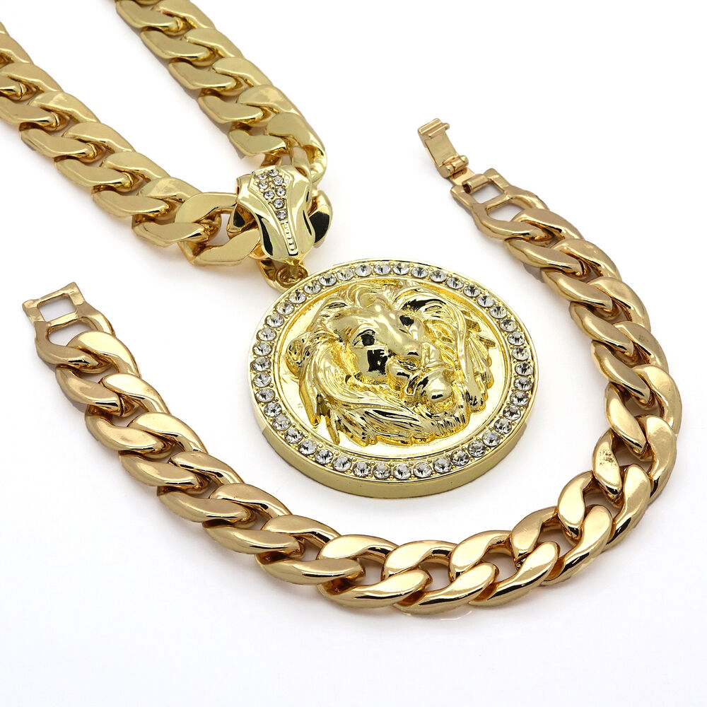 "Gold Jewelry Bracelets: Mens 14k Gold Plated 14mm30"" Cuban Chain Lion Face Black"