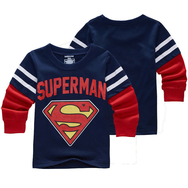 Baby kids boys superman superhero t shirt long sleeve tee Boys superhero t shirts