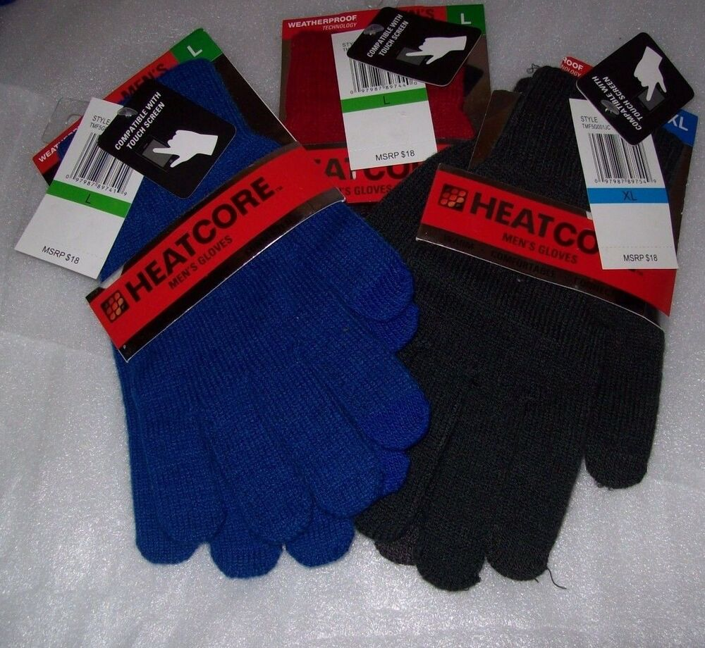 Mens gloves extra large - Mens Heat Core Gloves Weatherproof Technology Compatible With Touch Screen Nwt
