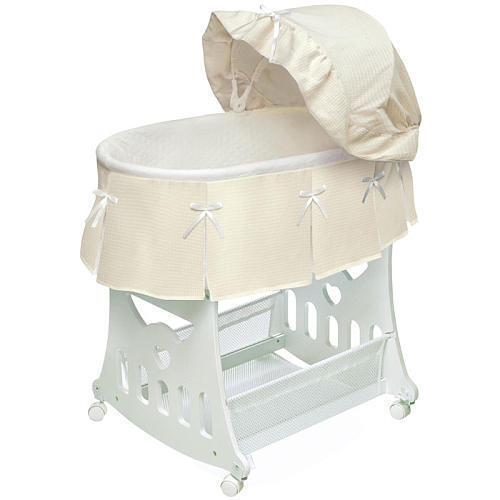 Badger basket waffle pleated portable bassinet 39 n cradle for Portable bassinet