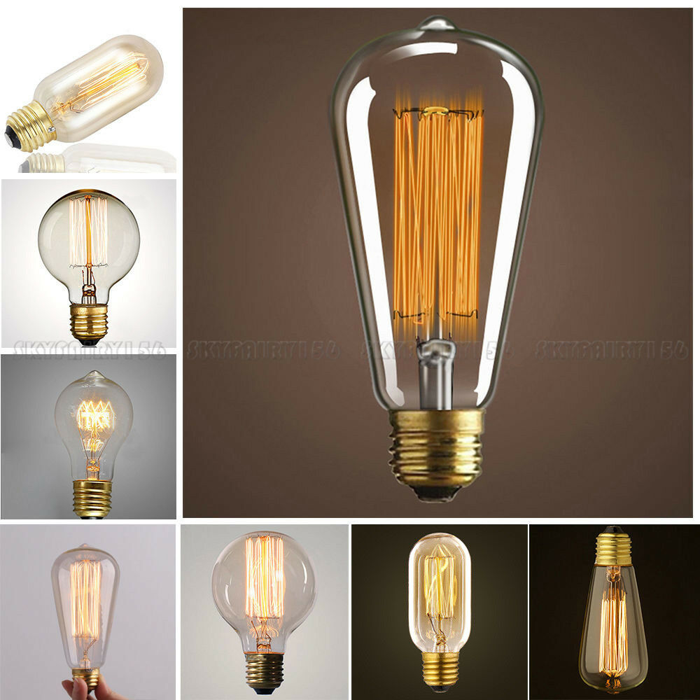 E26 40/60W Vintage Retro Filament Edison Tungsten Light ...
