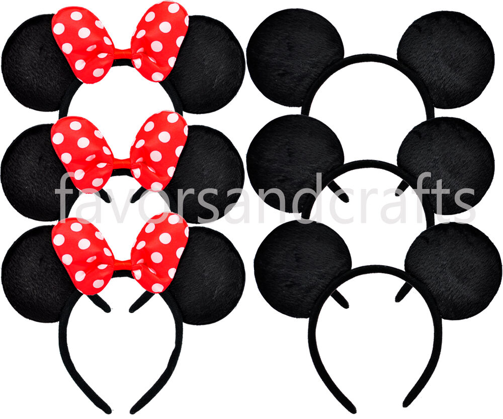 12 minnie mouse ears party headbands mickey red bows. Black Bedroom Furniture Sets. Home Design Ideas