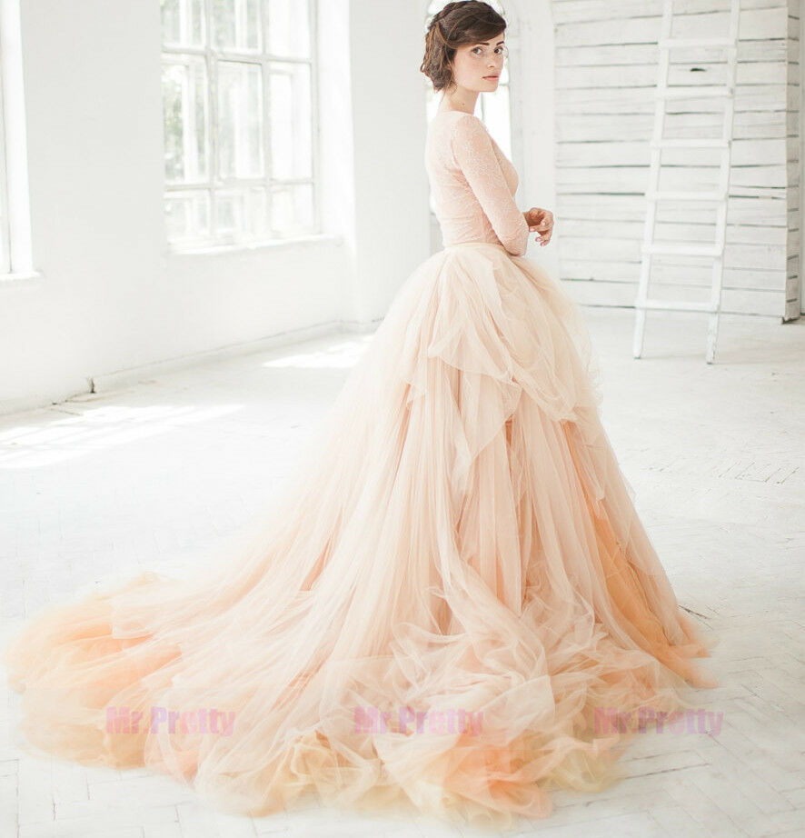 Champagne white long train wedding bridal party tulle for How to make a long tulle skirt for wedding dress