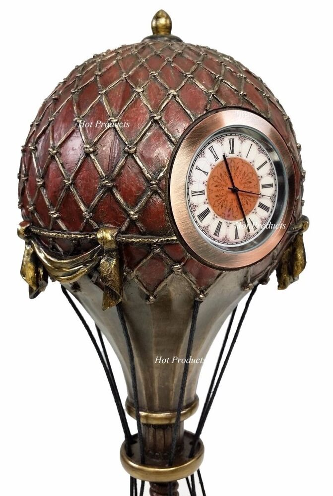Steampunk Hot Air Balloon Table Clock Home Decor Statue