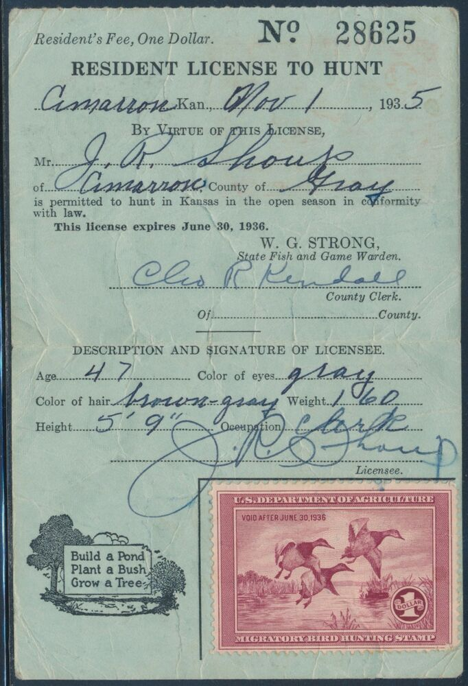 Rw2 on hunting license nov 1 1935 bt3092 ebay for Michigan non resident fishing license