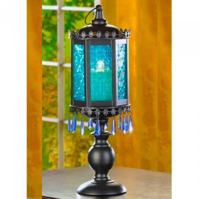 Exotic candelabra quot tall blue lantern candleholder