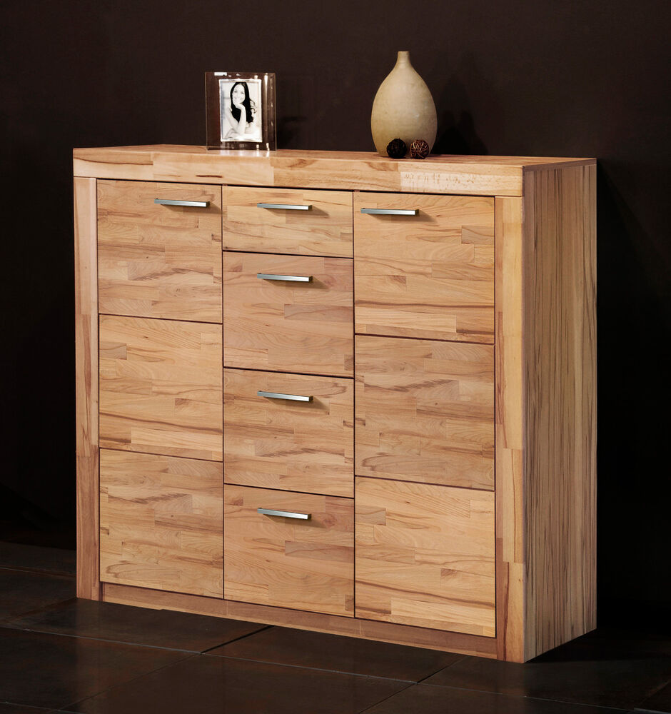 kommode 7148 5 anrichte sideboard highboard kernbuche struktur buche teil massiv ebay. Black Bedroom Furniture Sets. Home Design Ideas
