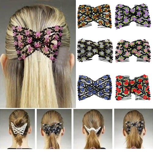 Chic Stretch Bow Glass Bead Hair Head Comb Cuff Double