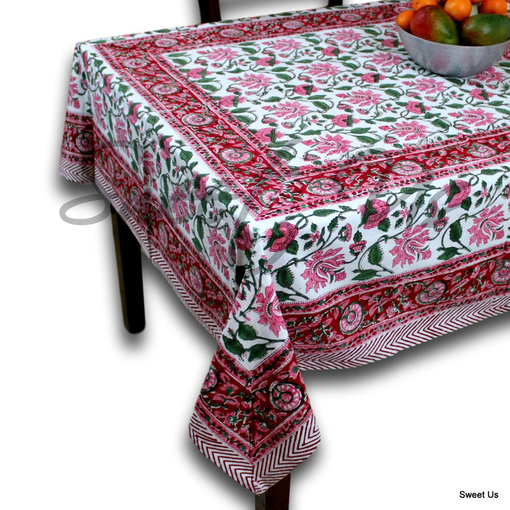 Handmade Lotus Flower Block Print 100 Cotton Tablecloth