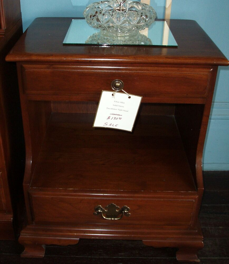 Ethan Allen Coffee Table With Drawers: Vintage Ethan Allen Cherry 2 Drawer Nightstand End Table