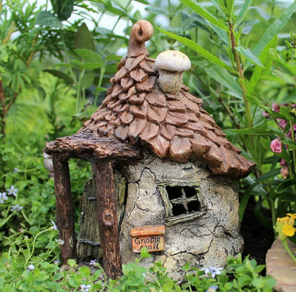 Gnomes get away swinging door garden decor fairy house for Garden ornaments and accessories