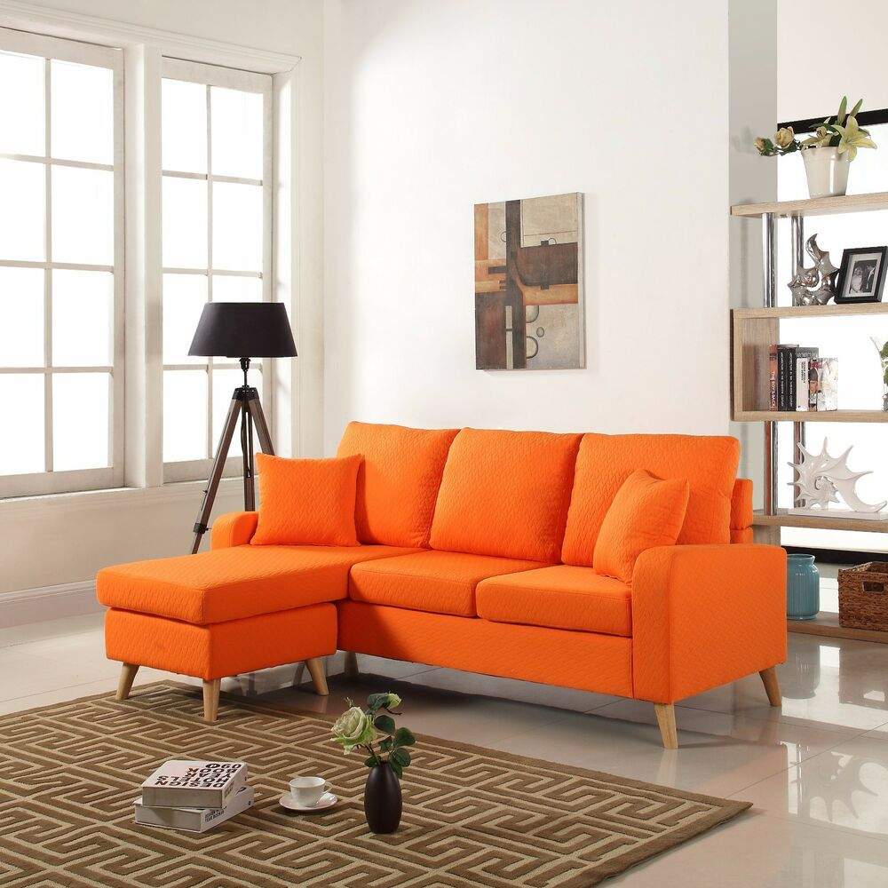 Modern Fabric Small Space Sectional Sofa W/ Reversible
