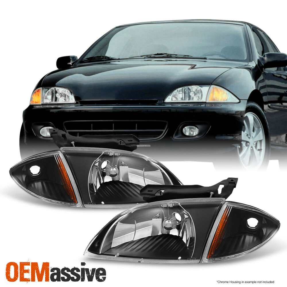 2000 2001 2002 Chevy Cavalier Black Headlights W/ Corner