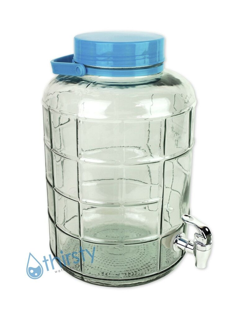 3 Gallon Glass Water Bottle W Faucet Carboy Canteen Jug