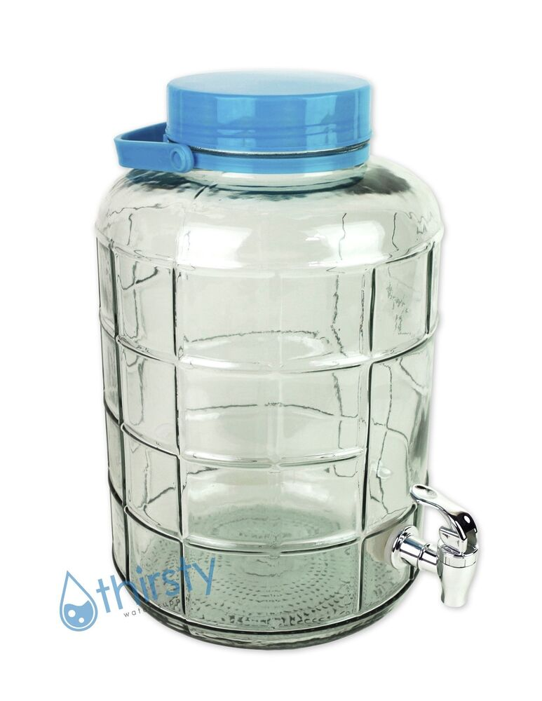 Drinking Water Faucet >> 3 Gallon Glass Water Bottle w/ Faucet Carboy Canteen Jug Container Jar Dispenser | eBay