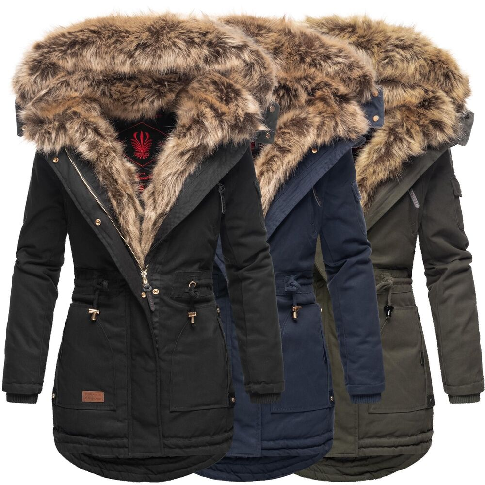 navahoo warme damen winter jacke parka lang mantel winterjacke fell kragen b380 ebay. Black Bedroom Furniture Sets. Home Design Ideas