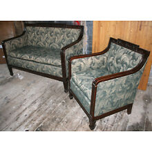 Antique carved mahogany sofa and chair, c. 1900