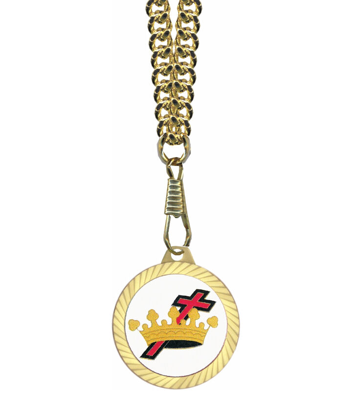knights of templar gold color pendant cross and crown w