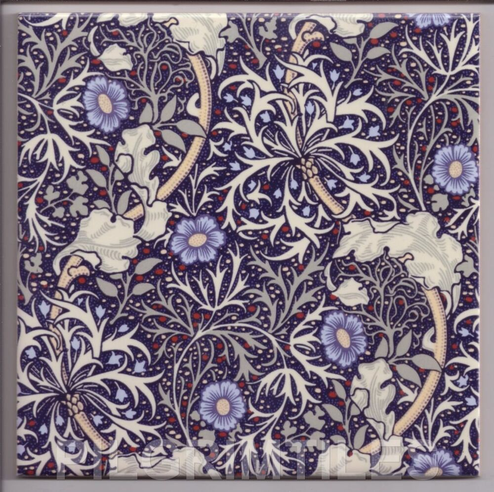 Arts crafts william morris seaweed tiles fireplace for Arts and crafts floor tile