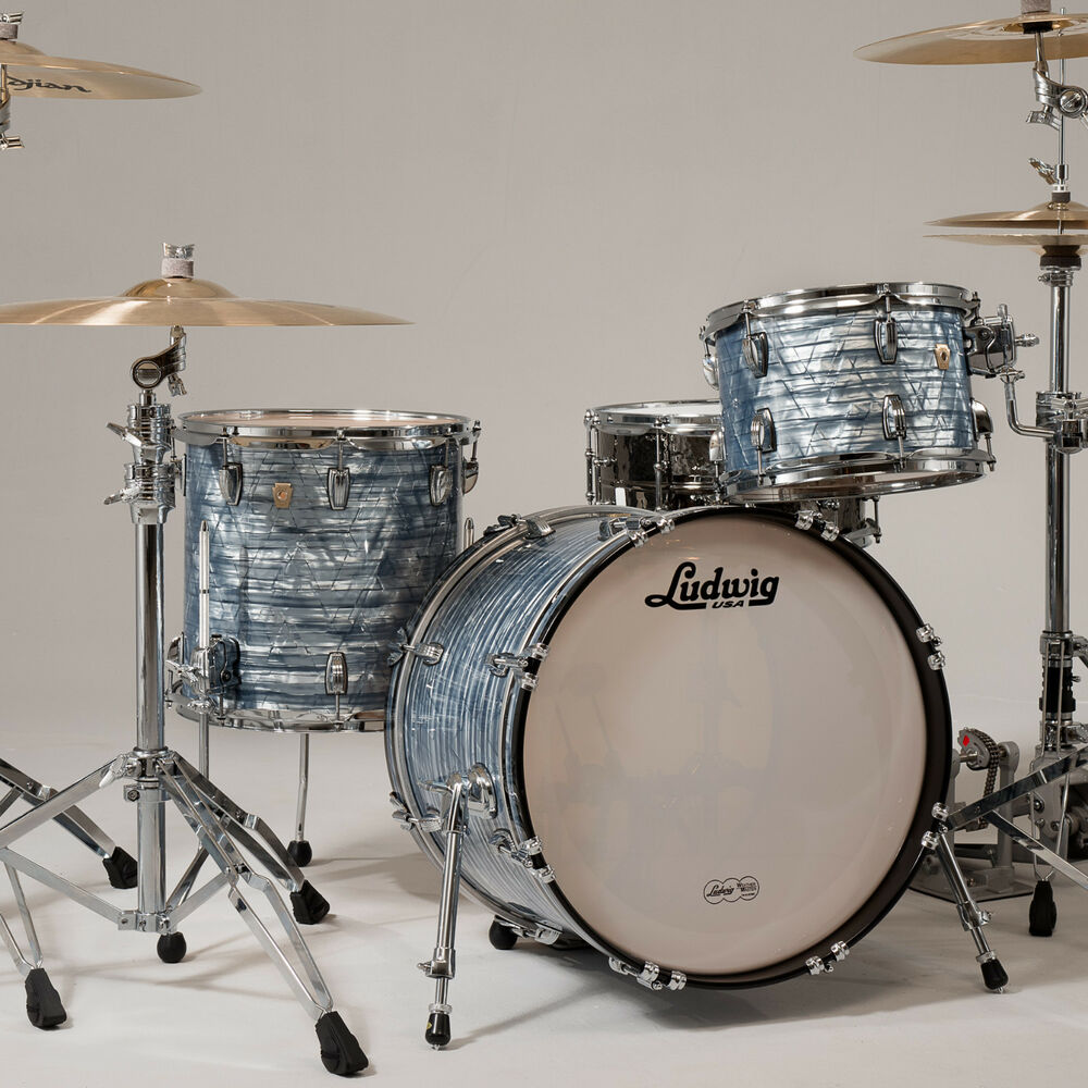 Ludwig classic maple downbeat drum set 3pc shell pack sky for Classic house drums