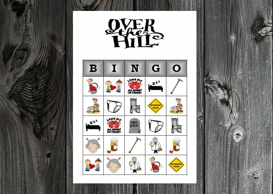 Details About Over The Hill 40th 50th 60th Birthday Party Game Printable Bingo Cards