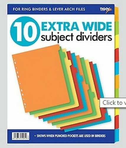 A4 10 Extra Wide Subject Card Divider Tabbed Colours Ring
