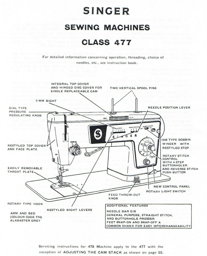singer models 477 478 sewing machine service repair manual