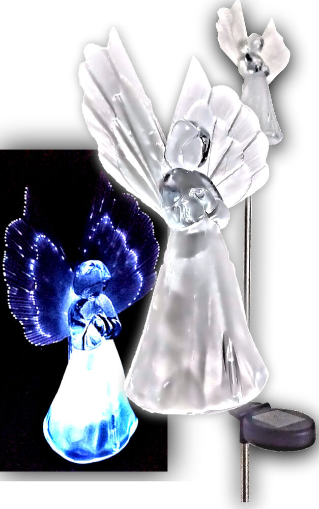 Set Of 2 Solar Powered Angel Led Light Garden Stakes Color