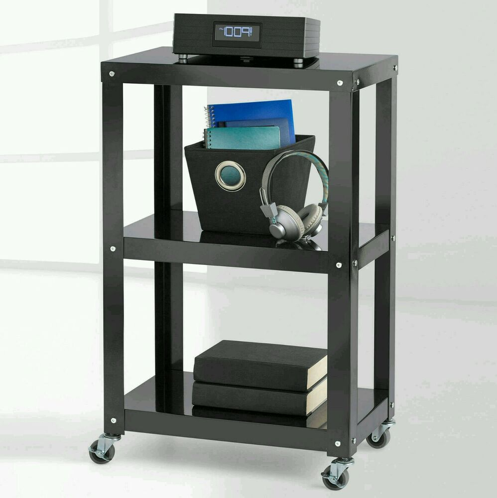Kitchen Cart Utility Black Shelves 3 Steel Rolling Casters Storage Home Garage Ebay
