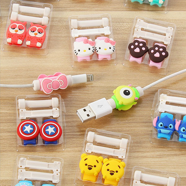 Cartoon USB Cable Protector Cover Case Fo Iphone Android