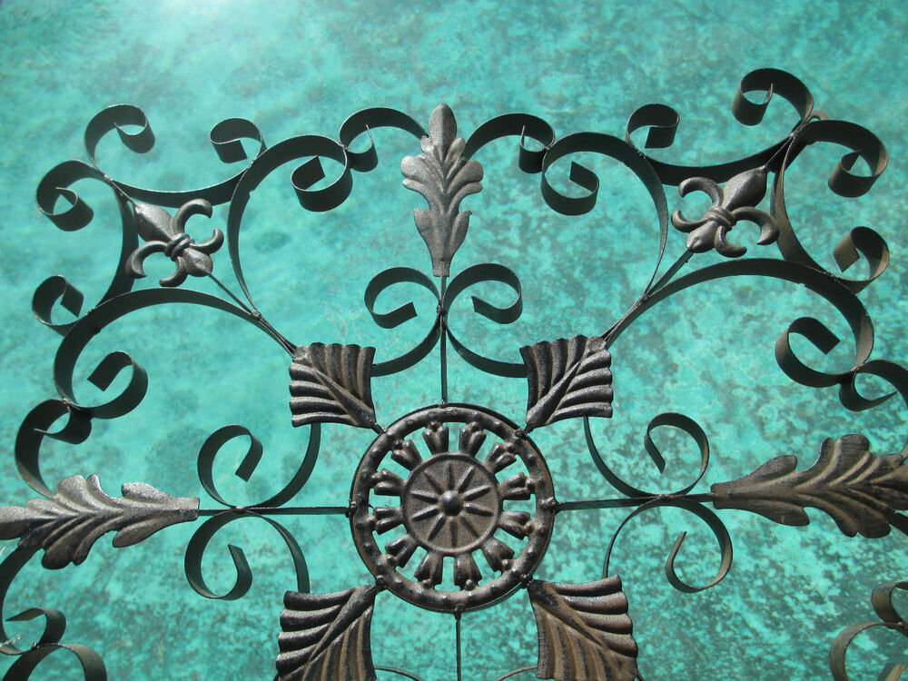 pair decorative wrought iron wall panel grill grate window. Black Bedroom Furniture Sets. Home Design Ideas