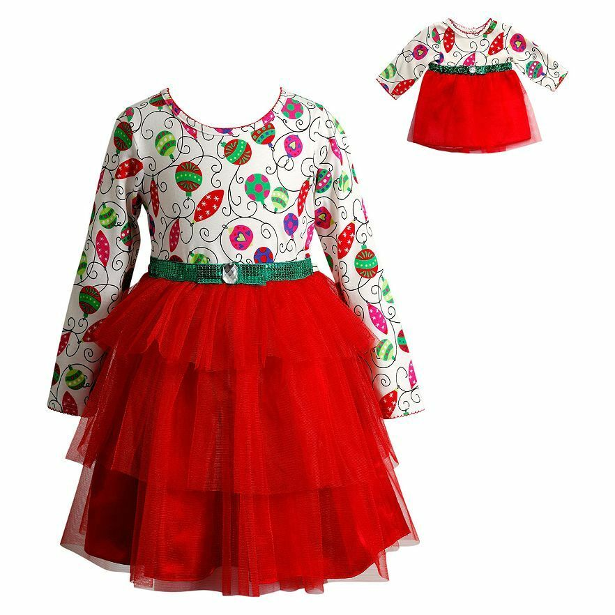Dollie Me Girl 4 14 And Doll Matching Christmas Dress