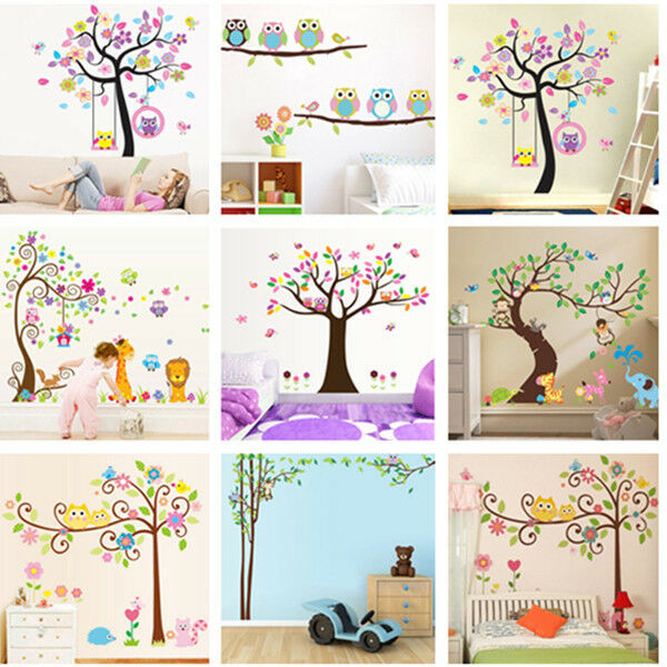 Nursery removable wallpaper owls tree wall stickers for for Kids room wallpaper