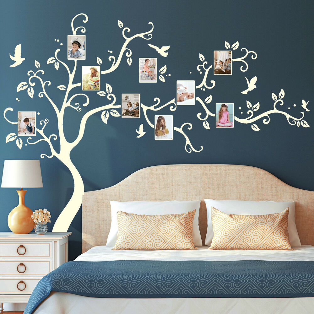 wandtattoo baum bilderrahmen 11150 fotos bl tter v gel b umchen familie erinnern ebay. Black Bedroom Furniture Sets. Home Design Ideas