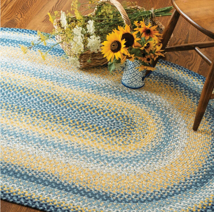 SUNFLOWERS BRAIDED AREA RUG By HOMESPICE DECOR. OVAL