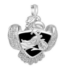 Motorcycle On Shield With Eagle Cremation Jewelry Urn Pendant w/ 20