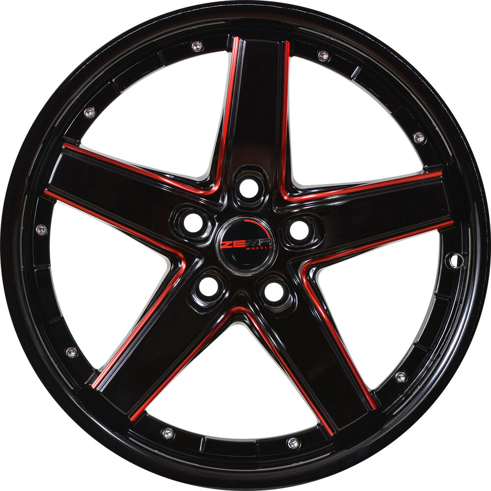 4 gwg wheels 17 inch black red drift rims fits 5x115. Black Bedroom Furniture Sets. Home Design Ideas