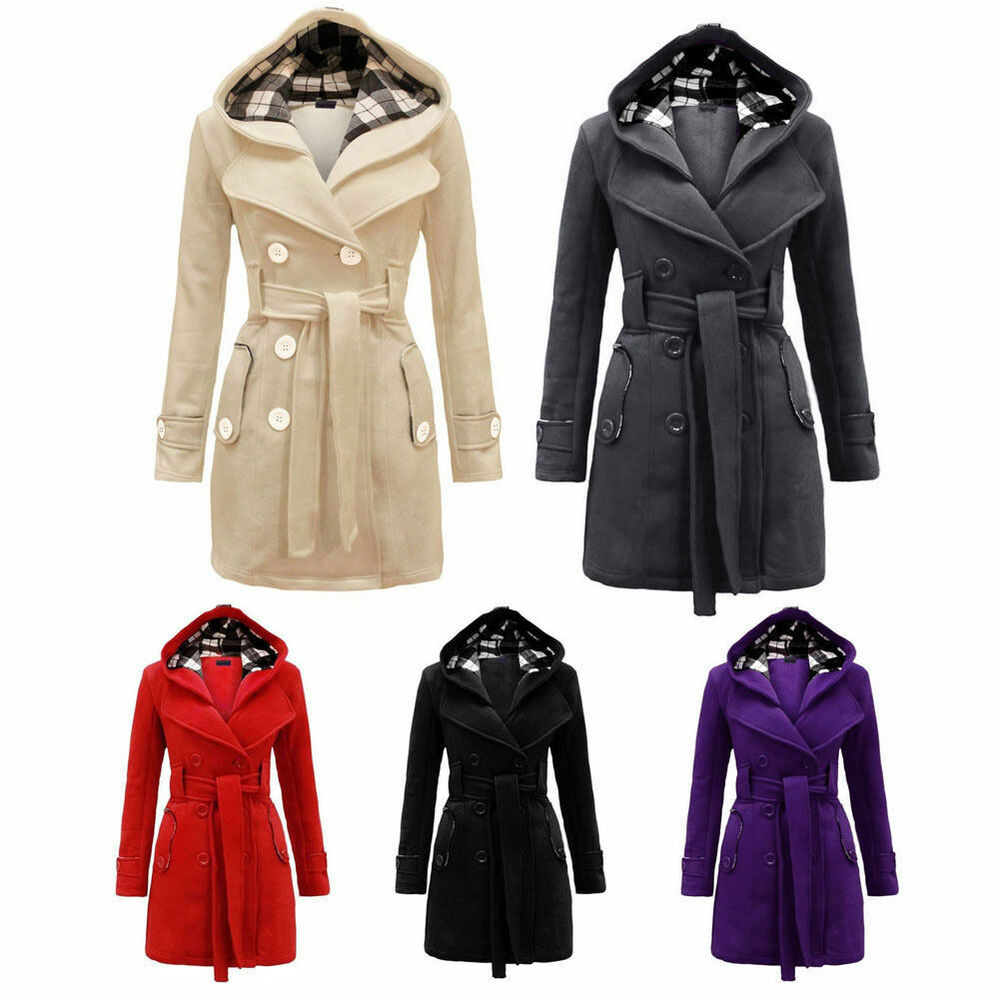 fashion women warm winter parka trench hooded long section