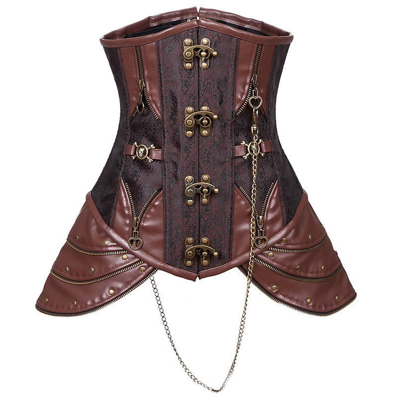 New Vintage Brown Faux Leather Steampunk Corset Top ...