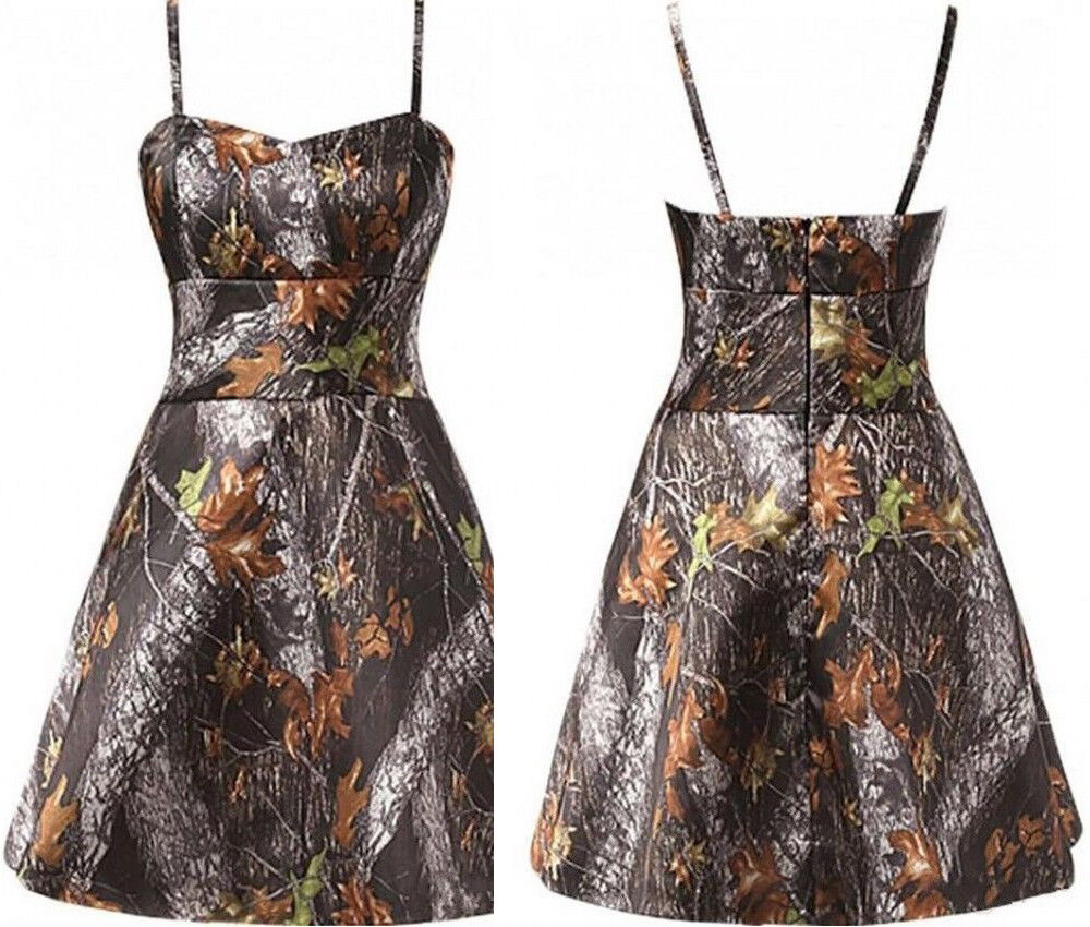 Camouflage Wedding Gowns: 2018 Short Camo Wedding Dresses A-Line Spaghetti Straps