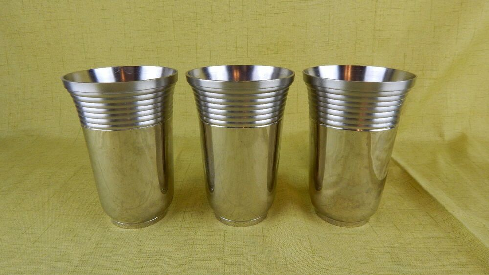 solid turned stainless steel drinking glasses 4 5 inches set of 3 ebay. Black Bedroom Furniture Sets. Home Design Ideas