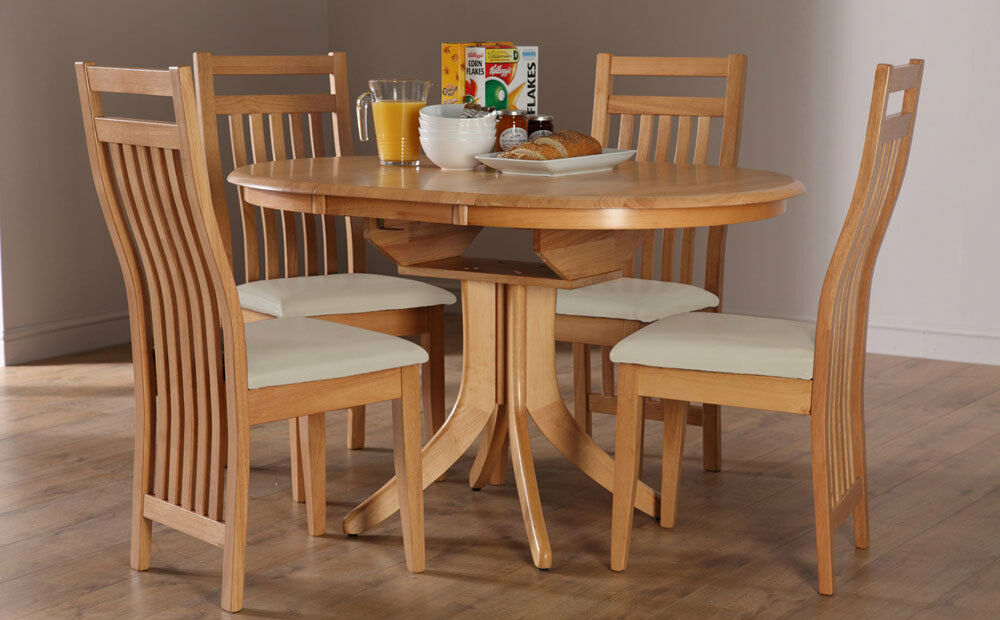 Hudson bali round extending oak dining table and 4 6 for Kitchen set bali